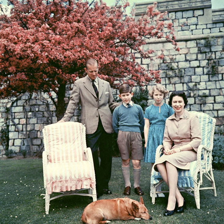 The royal family pictured in the garden of the private apartments at Windsor Castle in spring, 1959. L-R: Prince Philip the Duke of Edinburgh, Prince Charles The Prince Of Wales, Princess Anne The Princess Royal, HM the Queen.